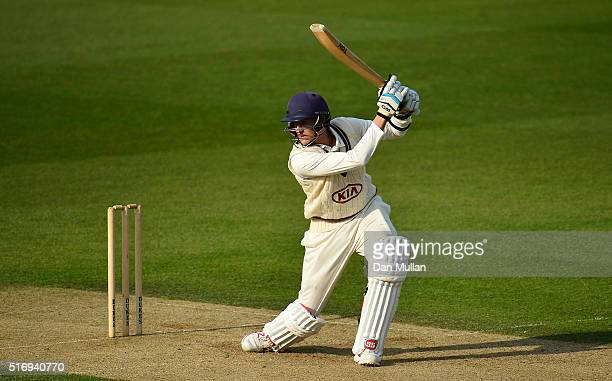Bradley Erasmus of Surrey bats during day one of the preseason friendly between Surrey and Middlesex at The Kia Oval on March 22 2016 in London...