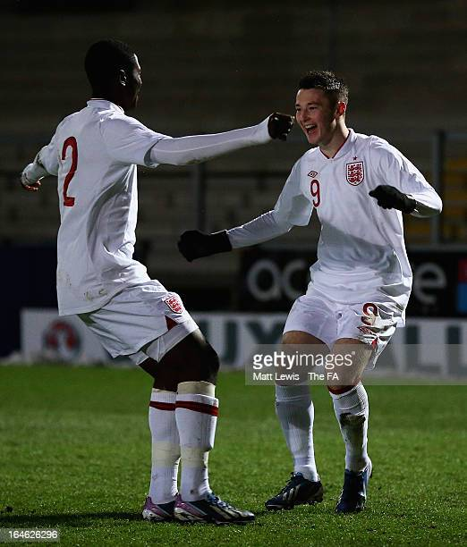 Bradley Fewster of England celebrates his goal with Temitayo Aina during the UEFA European Under-17 Championship Elite Round match between England...