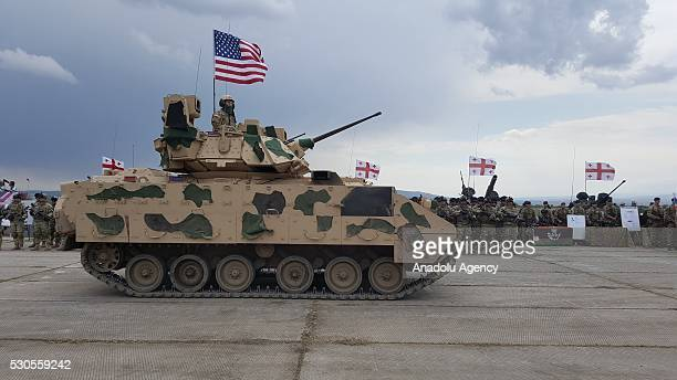 Bradley Fighting Vehicle belonging to the US forces attend an opening ceremony of the joint military exercise at the Vaziani training area outside...