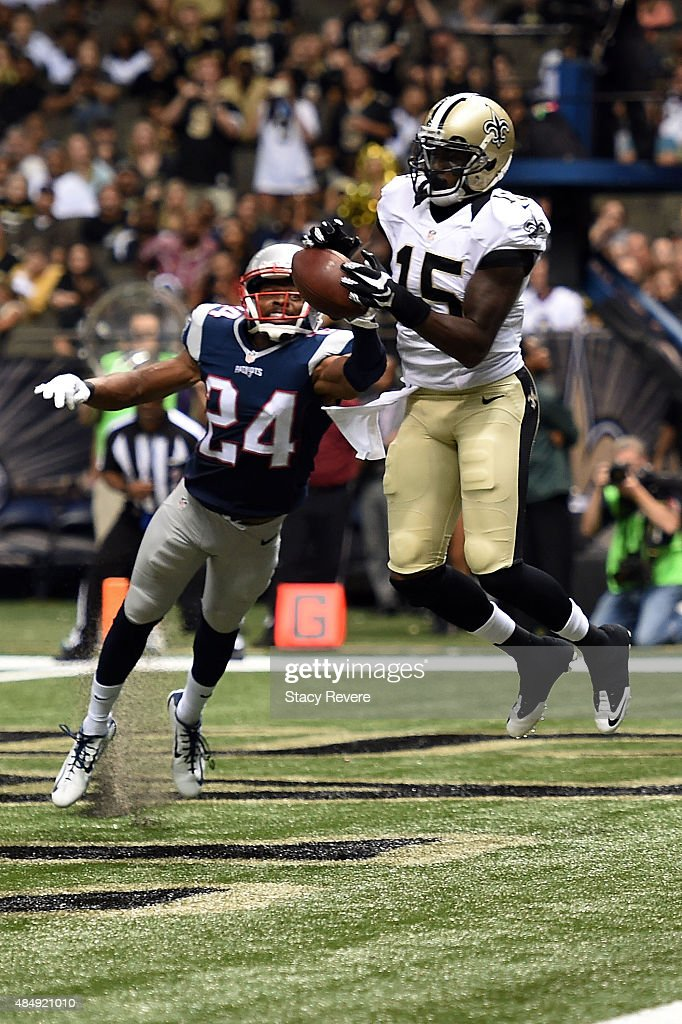 Bradley Fletcher #24 of the New England Patriots breaks up a pass intended for Seantavius Jones #15 of the New Orleans Saints during the fourth quarter of a preseason game at the Mercedes-Benz Superdome on August 22, 2015 in New Orleans, Louisiana.