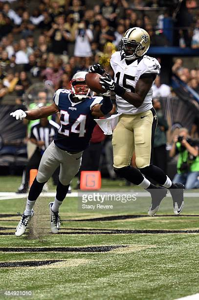 Bradley Fletcher of the New England Patriots breaks up a pass intended for Seantavius Jones of the New Orleans Saints during the fourth quarter of a...