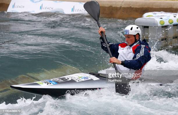 Bradley ForbesCryans of Great Britain warming up before the Men's K1 Final during 2019 ICF Canoe Slalom World Cup 1 Semi Final Men's Kayak K1 at the...