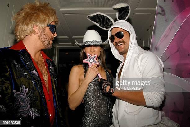 Bradley Garlock Zani Gugelmann and Douglas Friedman attend Allison Sarofim's 2005 Halloween Party at West Village on October 29 2005 in New York City