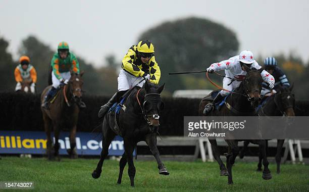 Bradley Gibbs riding Changing Lanes clear the last to win The Amateur Jockeys' Association Amateur Riders' Handicap Steeple Chase at Ludlow...
