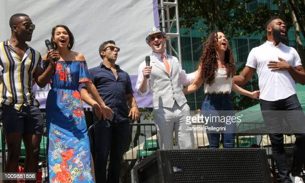 Bradley Gibson Arielle Jacobs Fred Berman Jeremy Davis Nina LaFarga and Nicholas Ward from the casts of Frozen The Lion King and Aladdin perform at...