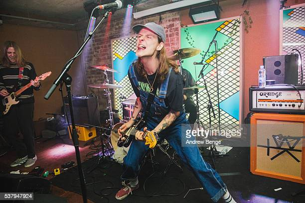 Bradley Griffiths of Bloody Knees performs on stage at Headrow House on June 2 2016 in Leeds England