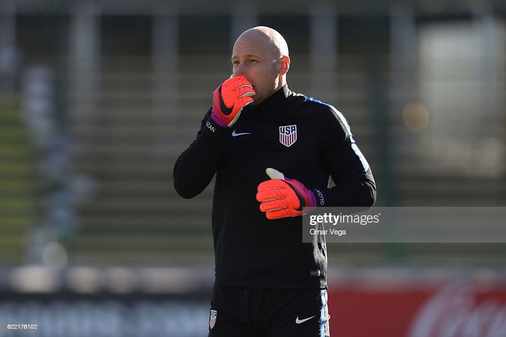 Bradley Guzan goalkeeper of USA warms up during a USA National Team training session at MAPFRE Stadium on November 10, 2016 in Columbus, United States.