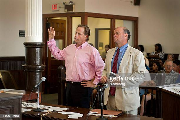 Bradley H Jack former managing director for Lehman Brothers Holdings Inc left attends superior court with his attorney Robert Golger in Bridgeport...