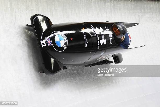 Bradley Hall and Ben Simons of Great Britain compete in the 2man Bobsleigh during the BMW IBSF World Cup Bob Skeleton PyeongChang Presented by JIN...