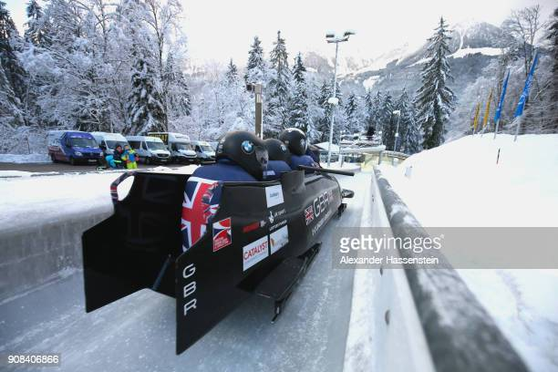 Bradley Hall of Great Britain competes with Nicholas Gleeson James Axel Brown and Judah Simpson at Deutsche Post Eisarena Koenigssee during the BMW...