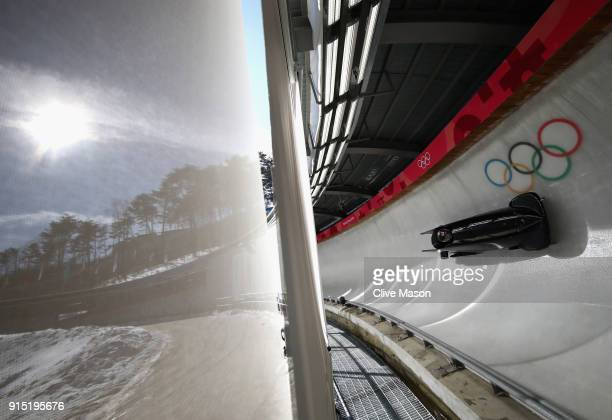 Bradley Hall of Great Britain trains during Bobsleigh practice ahead of the PyeongChang 2018 Winter Olympic Games at Olympic Sliding Centre on...