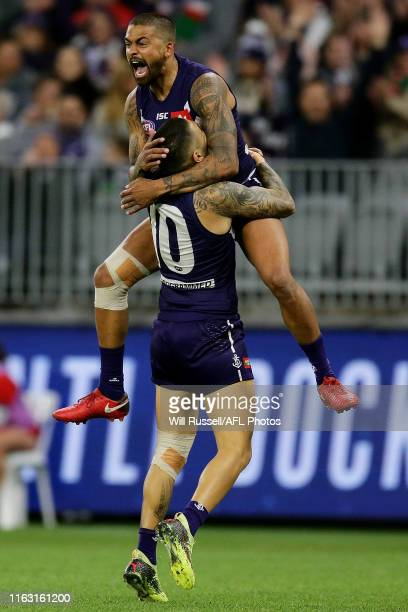 Bradley Hill of the Dockers celebrates after scoring a goal during the round 18 AFL match between the Fremantle Dockers and the Sydney Swans at Optus...