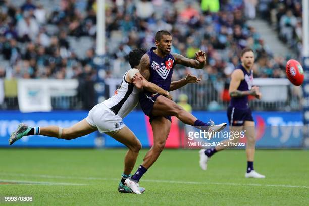 Bradley Hill of the Dockers kicks the ball during the round 17 AFL match between the Fremantle Dockers and the Port Adelaide Power at Optus Stadium...