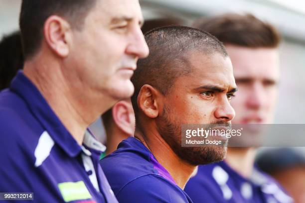 Bradley Hill of the Dockers looks on during the round 16 AFL match between the Melbourne Demons and the Fremantle Dockers at TIO Stadium on July 7...