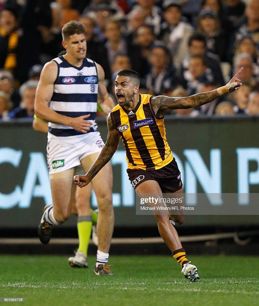 Bradley Hill of the Hawks celebrates a goal during the 2016 AFL Second Qualifying Final match between the Geelong Cats and the Hawthorn Hawks at the Melbourne Cricket Ground on September 09, 2016 in Melbourne, Australia.