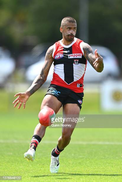 Bradley Hill of the Saints kicks during a St Kilda Saints AFL training session at Maroochydore Multi Sport Complex on September 25 2020 in Sunshine...