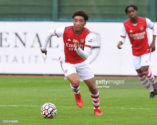 Bradley Ibrahim of Arsenal during the U18 Premier League match between Arsenal U18 and Birmingham City U18 at London Colney on September 25, 2021 in...