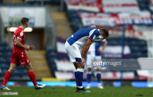 Bradley Johnson of Blackburn Rovers looks on dejected at the final whistle during the Sky Bet Championship match between Blackburn Rovers and...