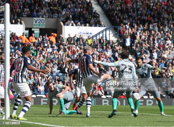 Bradley Johnson of Blackburn Rovers scores his side's second goal during the Sky Bet Championship match between West Bromwich Albion and Blackburn...