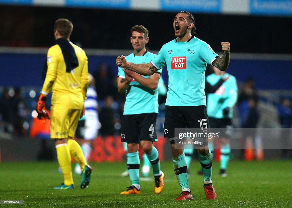 Bradley Johnson of Derby County celebrates following victory in the Sky Bet Championship match between Queens Park Rangers and Derby County at Loftus Road on December 14, 2016 in London, England.