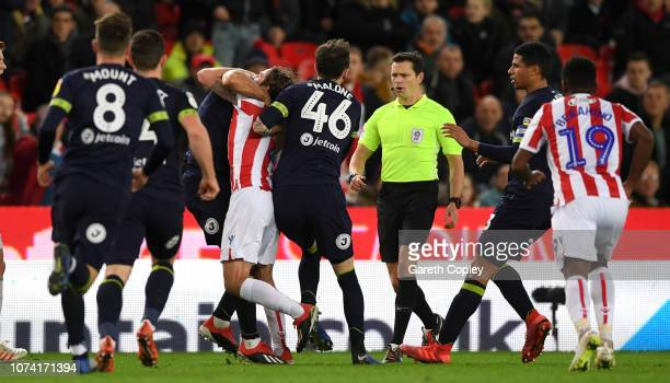 Bradley Johnson of Derby County clashes with Joe Allen of Stoke City during the Sky Bet Championship match between Stoke City and Derby County at...