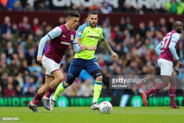 Aston Villa v Derby County Sky Bet ChampionshipnBIRMINGHAM ENGLAND APRIL 28 Bradley Johnson of Derby County closes down Aston Villa's Jack Grealish