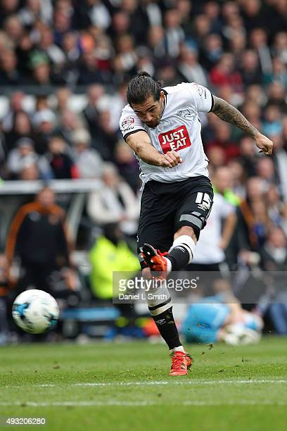 Bradley Johnson of Derby County FC takes at goal during the Sky Bet Championship match between Derby County and Wolverhampton Wanderers at Pride Park...