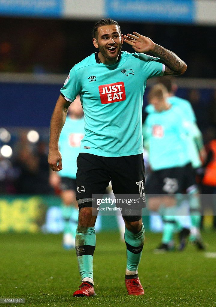 Bradley Johnson of Derby County gestures towards the QPR supporters following victory in the Sky Bet Championship match between Queens Park Rangers and Derby County at Loftus Road on December 14, 2016 in London, England.