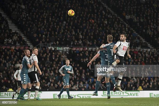 Bradley Johnson of Derby County heads the ball during the Sky Bet Championship match between Derby County and Wigan Athletic at iPro Stadium on...