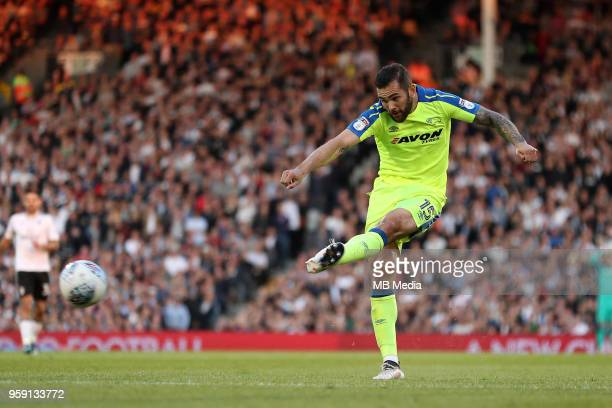 Bradley Johnson, of Derby County tries a shot on goal during the Sky Bet Championship Play Off Semi Final Second Leg on May 14, 2018 at Craven...