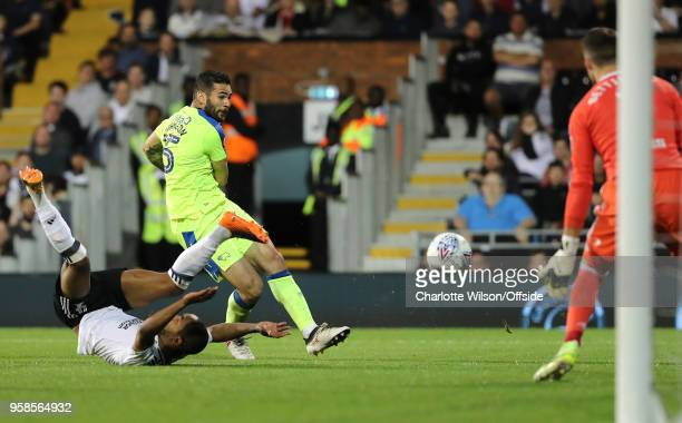 Bradley Johnson of Derby has a shot during the Sky Bet Championship Play Off Semi Final:Second Leg match between Fulham and Derby County at Craven...