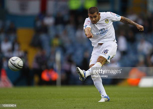 Bradley Johnson of Leeds United shoots during the Carling Cup First Round match between Leeds United and Lincoln City at Elland Road on August 10,...