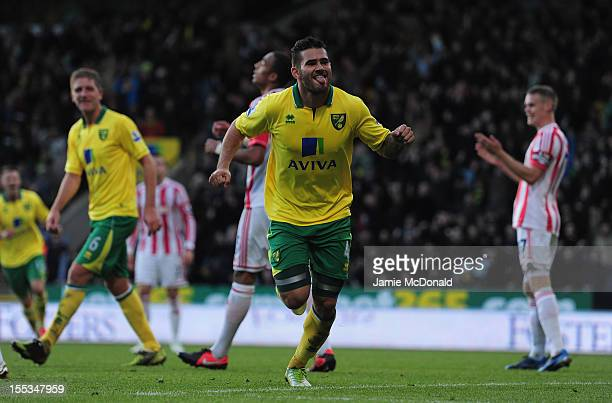Bradley Johnson of Norwich City celebrates his goal during the Barclays Premier League match between Norwich City and Stoke at Carrow Road on...