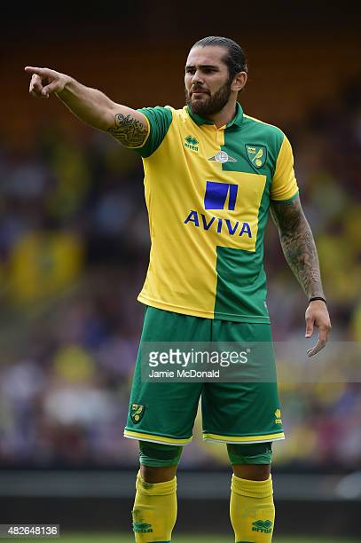 Bradley Johnson of Norwich City in action during the pre season friendly match between Norwich City and Brentford at Carrow Road on August 1 2015 in...