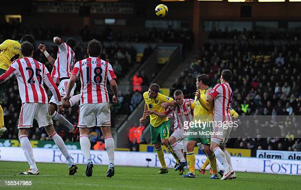 Bradley Johnson of Norwich City scores his goal during the Barclays Premier League match between Norwich City and Stoke at Carrow Road on November 3,...