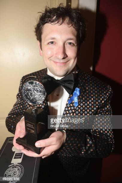 """Bradley King, winner of the award for Best Lighting Design for a Musical for """"Natasha, Pierre, and The Great Comet of 1812,"""" in the press room during..."""