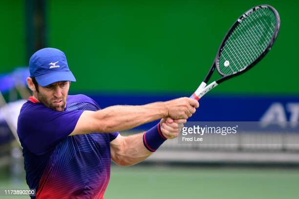 Bradley Klahn of the United States in action against Juan Ignacio Londero of Argentina during 2019 Rolex Shanghai Masters on Day 2 at Qi Zhong Tennis...