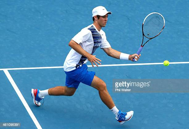 Bradley Klahn of the USA plays a forehand during his first round match against Daniel Brands of Germany on day two of the Heineken Open at the ASB...