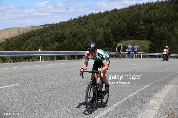 Bradley Leitch of Auckland Team Skoda Racing makes his way up the Blackmount Hill during stage three from Riverton to Te Anau during the 2017 Tour of...
