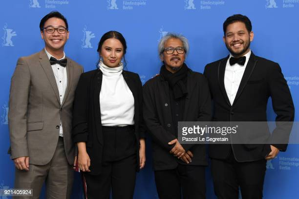 Bradley Liew Bianca Balbuena Lav Diaz and Quark Henares pose at the 'Season of the Devil' photo call during the 68th Berlinale International Film...