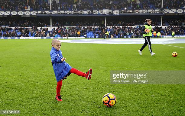 Bradley Lowery aged five who is terminally ill with cancer on the pitch before the Premier League match at Goodison Park Liverpool