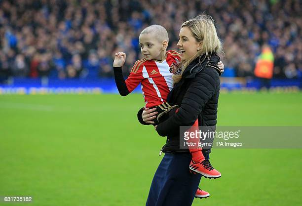 Bradley Lowery aged five who is terminally ill with cancer on to the pitch before the Premier League match at Goodison Park Liverpool