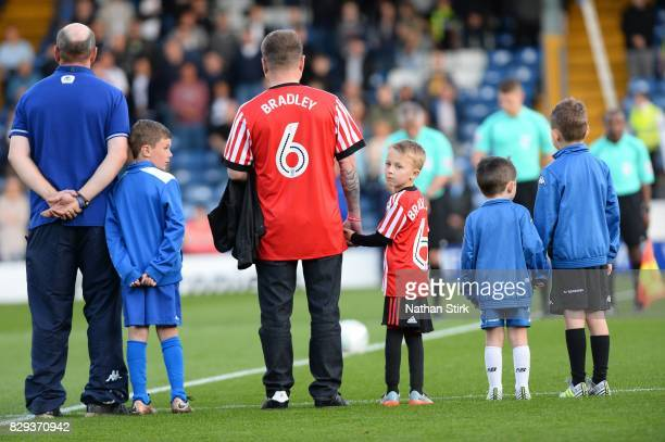 Bradley Lowery best friend is the mascot during the Carabao Cup First Round match between Bury and Sunderland at Gigg Lane on August 10 2017 in Bury...