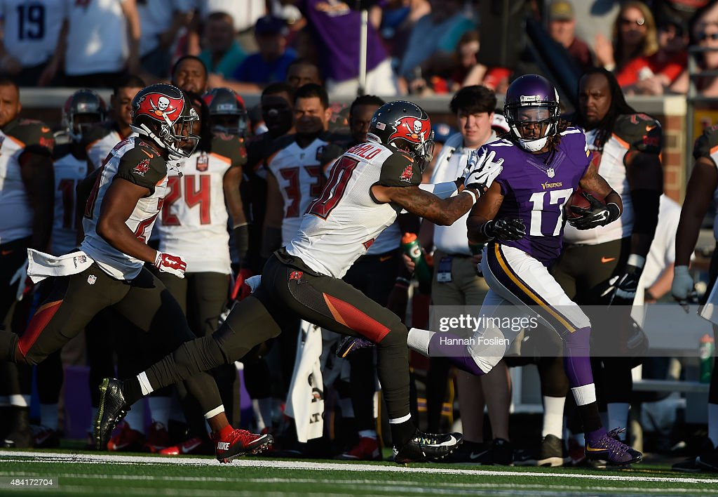 Bradley McDougald #30 of the Tampa Bay Buccaneers knocks Jarius Wright #17 of the Minnesota Vikings out of bounds during the first quarter of the preseason game on August 15, 2015 at TCF Bank Stadium in Minneapolis, Minnesota.