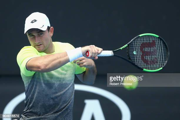 Bradley Mousley of Australia competes in his third round match against Jaume Munar of Spain during 2018 Australian Open Qualifying at Melbourne Park...