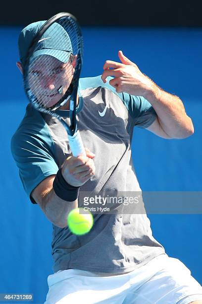 Bradley Mousley of Australia plays a forehand in his semifinal match against Alexander Zverev of Germany during the 2014 Australian Open Junior...