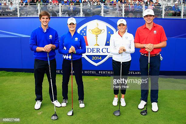 Bradley Neil and Annabel Dimmock of Team Europe and Sierra Brooks and Sam Burns of Team USA pose on the first tee during the Friendship Match ahead...
