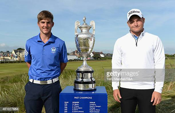 Bradley Neil of Blairgowrie and Zander Lombard of South Africa pose with the trophy before the final round of The Amateur Championship 2014 Day Seven...