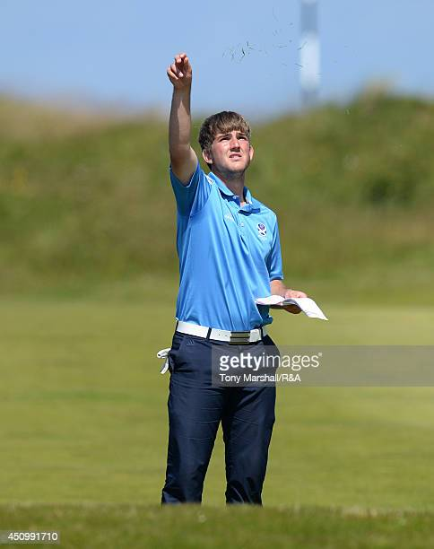 Bradley Neil of Blairgowrie checks the wind direction during the semi final round of The Amateur Championship 2014 Day Six at Royal Portrush Golf...