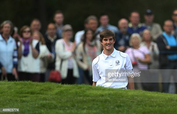 Bradley Neil of Europe in action during the first round of the 2014 Junior Ryder Cup at Blairgowrie Golf Club on September 22 2014 in Perth Scotland